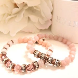 Hillberg & Berk rose gold/rose quartz bracelets